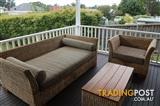 Wicker outdoor lounge and table