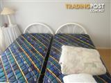 white metal single bed