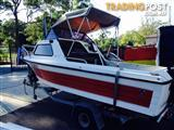 15ft CARIBBEAN 1/2 CABIN BOAT WITH 70hp MERCURY MOTOR ON TRAILER