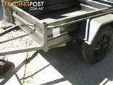 7 X 4 BOX TRAILER ***NEW*** 530mm PRESSED SIDES WITH TIE RAIL X-PLATE FOOR & GUARDS
