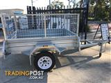 8 x 5 GALVANISED HOT DIPPED SINGLE AXLE BOX TRAILER (NEW) WITH 600mm CAGE