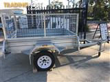 7 x 5 GALVANISED HOT DIPPED SINGLE AXLE BOX TRAILER (NEW) WITH 600mm CAGE