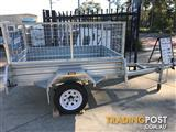 7 x 4 GALVANISED HOT DIPPED SINGLE AXLE BOX TRAILER (NEW) WITH 600mm CAGE