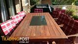 2.4m x 1.1m Timber Table with Granite Insert includes 8 Timber Chairs & cushions