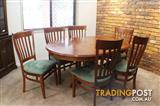 *** SOLID WOOD EXTENDABLE DINING TABLE  with 6  CHAIRS ***