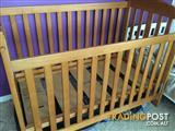 Cot, porta cot ( with change table which goes on top ) toddler bed , mattress , sheets