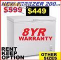 Freezer Chest New 200Ltr. 8 YEAR WARRANTY. ALL SIZES AVAILABLE.