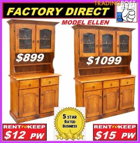 NEW Buffet Hutch Lead Light Solid. All Sizes. RENT KEEP $9.25 PW