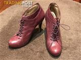 Nine West - Purple Magenta Lace Up Ankle Boots 7