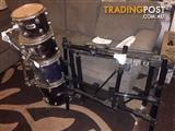 Drums, Pearl Drum Rack, cymbals stands, extras