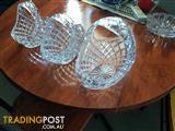 Beautiful crystal baskets with handles - set of 3.