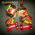 Kids Lightning McQueen Strap on Wheels & Matching Lightning McQueen knee pads