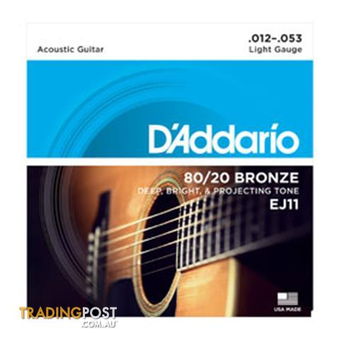 D'Addario's  EJ11 80/20 Bronze Acoustic Guitar Strings, Light, 12-53