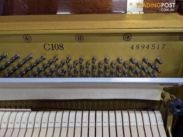 Yamaha C108 Polished Walnut Upright Acoustic Piano (1990)