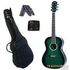 Martinez Nylon-String Three Quarter Small-Body Folk Acoustic Guitar Pack (Green)