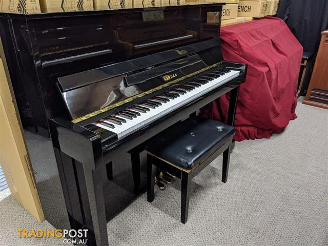 Linden K121 Upright Piano in Polished Ebony  by Kawai Ser No 10962