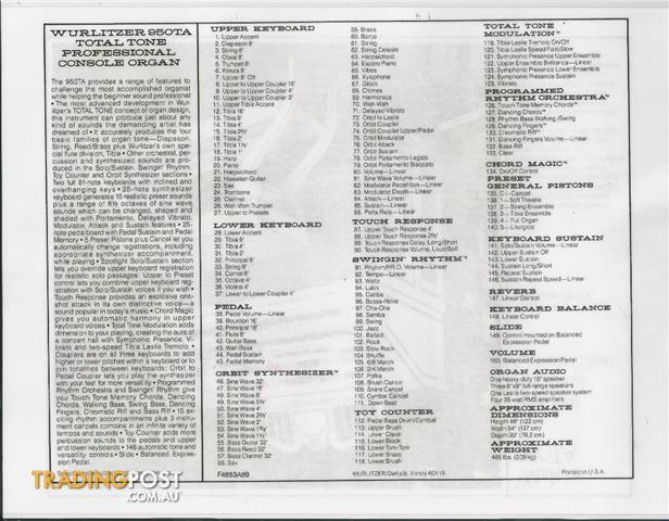 Wurlitzer Theatre Organ 950TA Deluxe Ivory & Gold Finish