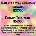 Hair specials keratin treatments foils cut