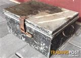 Small Black vintage Steel trunk. Inner tray. W 41cm D 31cm