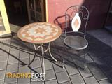 Mosaic table top on steel frame & chair 1 x table Frame has r