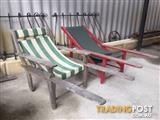 2 squatters chairs, deck chairs Need sanding and oiling or painti