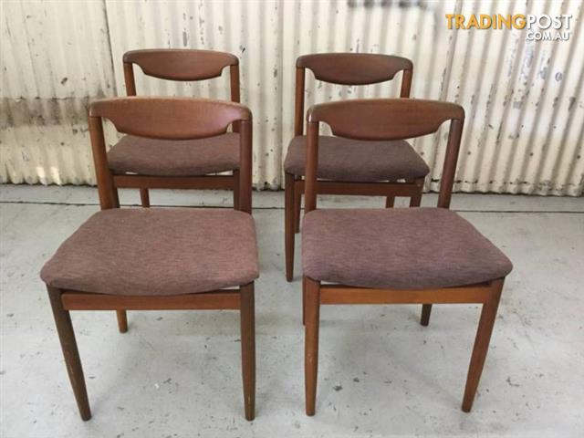 Set Of 4 Vintage Mid Century Dining Chairs Danish Style Seat Hei