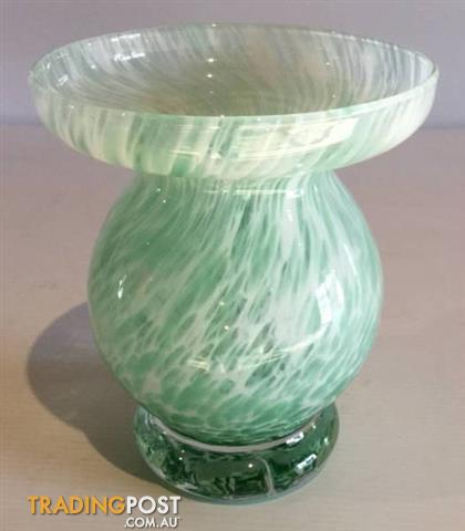 Caithness Glass Vase Unusual Shape Wide Opening Jade And White For