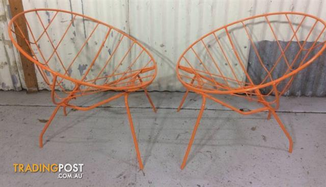 Vintage Mid Century Hoop Chairs Wrought Iron Chairs X 2. Orig