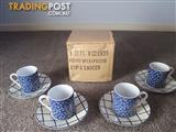 BNIB Petite 8 Pce Expresso Cup/Saucer Set By Mutiple Choice