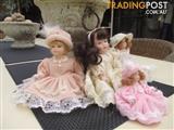 4 Piece Porcelain Doll Set Excellent Condition + Bonus Free Item