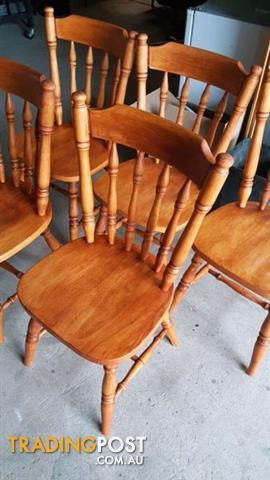 Newly refurbished and stained wooden chairs