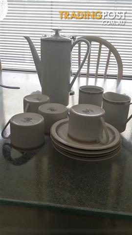 Coffee Set..White with gold trim