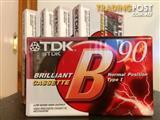 5 X BRAND NEW TDK B90 MINUTE BLANK CASSETTE TAPES
