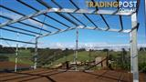 Galvinised shed frames with roof purlins