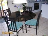 Black Wrought Iron Table and & newly upholstered Chairs
