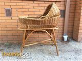 BABY WICKER CANE  COT CRADLE HOODED BASSINET  on a STAND $150