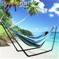 Double Swinging Hammock & Steel Frame Stand Combo Cotton Fabric Camping Outdoor