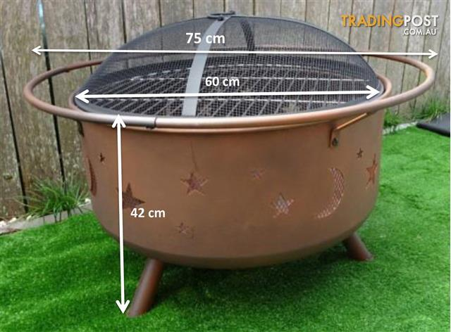 Stars & Moon Fire Pit-Camp Fire- Outdoor Fire BBQ Grill - 2 in 1 Fire Pit- 75cm
