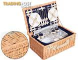 NEW Deluxe 4 Person Picnic Basket Insulated Bag Hamper Set