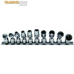 BGS Germany 10-pc 12-point Universal Joint Socket Set 1/4