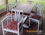 Shabby Chic Painted Vintage Dining Table And 6 Chairs