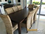 Large 8 seater dining table and chairs