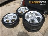 SUBARU 17 INCH GENUINE ALLOY WHEELS AND TYRES
