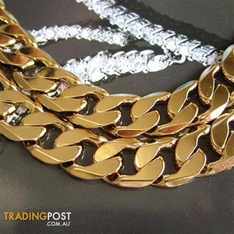 "Heavy 24K Yellow Gold Filled Mens Necklace 24""/12mm Curb Chain 103g"