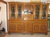 DINING ROOM TABLE CHAIRS AND 2 LARGE CABINETS