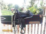 """17"""" Western saddle with  bridle , 2 saddle blankets and a new girth"""