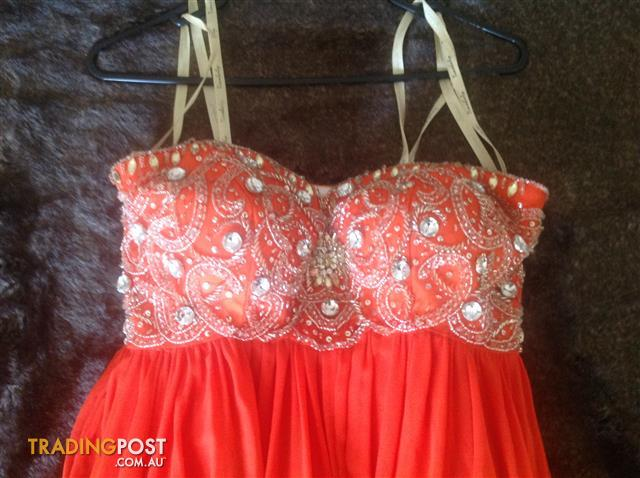 Tinaholy Formal Gown, Size 8, Orange, Worn Once