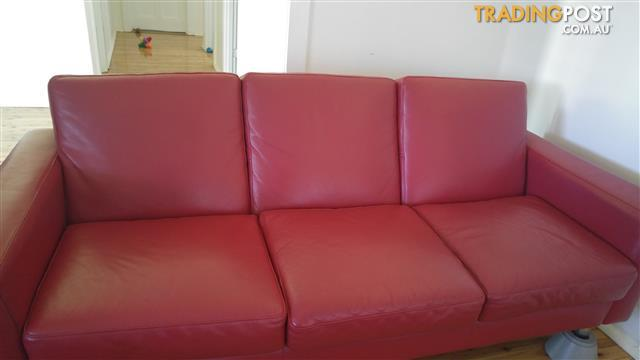 Moran dark red leather contemporary  sofa x2