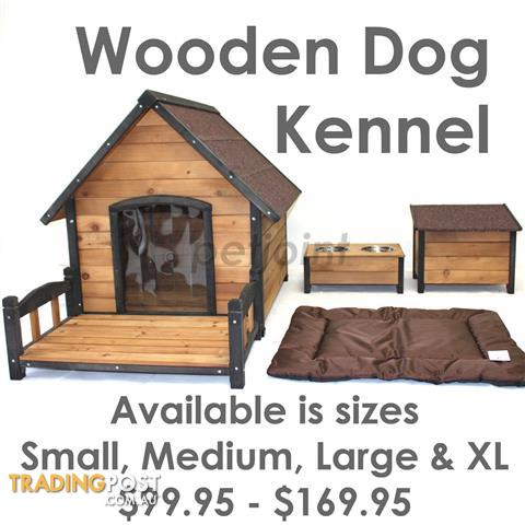 S M L XL Wooden Dog Kennel Pet Homes Pup Timber Wood Outdoor House