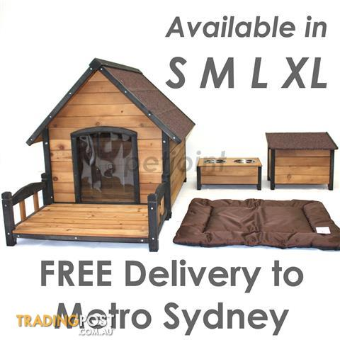 Premium Wooden Pet Dog Kennel Timber Wood Large Outdoor House sd1